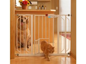 Carlson Pet Product 0930PW Extra Wide Walk-Thru Gate with Pet Door
