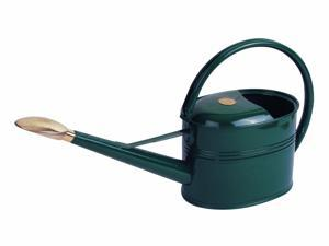 Haws V134G Slimcan Galvanized Green Painted Watering Can with Oval Rose - 1.3 US Gallons
