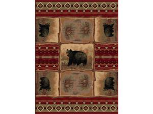 Tayse Rugs Nature 6570 Red 5ft. 3 in. x 7 ft. 3 in. Lodge Area Rug