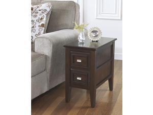 Contemporary Chairside End Table in Dark Brown - Signature Design by Ashley Furniture