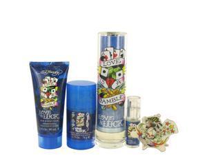 Love & Luck by Christian Audigier - Gift Set - 3.4 oz Eau De Toilette Spray + 3 oz Hair & Body Wash + 2.75 oz Deodorant Stick + .25 oz Mini EDT Spray + Tatoo Design Key Chain for Men