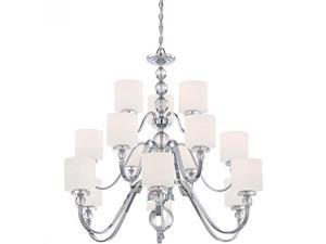 Quoizel DW5015C Downtown with Polished Chrome Finish Three Tier Chandelier With 15 Lights