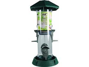 North States 2-IN-1 HINGED-PORT BIRD FEEDER GREEN/CLEAR 1.5 POUND CAP
