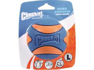 Canine Hardware CHUCKIT ULTRA SQUEAKER BALL DOG TOY ORANGE AND BLUE LARGE