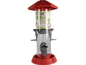 North States 2-IN-1 HINGED-PORT BIRD FEEDER RED/CLEAR 1.5 POUND CAP