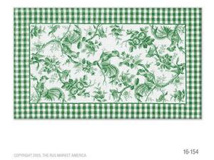 ROOSTER TOILE GREEN Size 5X8 Ft.