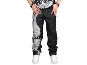 Shefetch Men's Fit Autumn Retro 1 Colors 5 Sizes Denim Mens Jeans Black 36