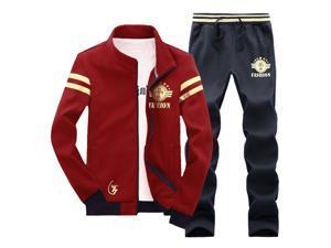 Shefetch Men's Autumn Mens Activewear 2XL,3XL,L,M,XL Lycra 3 Colors Wine Red L