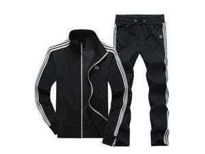Shefetch Men's Casual Mens Activewear 5 Sizes Black,Blue,Light Grey Lycra Black XL