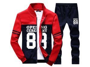 Shefetch Men's Autumn Mens Activewear 2XL,3XL,4XL,L,M,XL Lycra 4 Colors Red 2XL