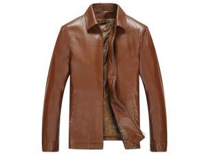 Shefetch Men's Autumn Fashion Relaxed Fit Lycra Mens Outerwear  Brown L