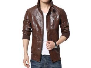 Shefetch Men's Fashion Chic Autumn Lycra Mens Outerwear 4 Sizes 3 Colors  Brown L