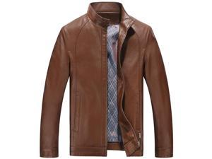 Shefetch Men's Fashion Autumn Lycra Motor Mens Outerwear 5 Sizes 5 Colors  Brown 2XL