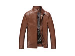Shefetch Men's Fashion Autumn Lycra Motor Mens Outerwear 5 Sizes 5 Colors  Dark Brown XL
