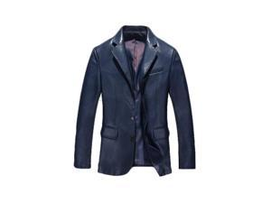 Shefetch Men's Vintage Autumn Fitted Lycra Mens Outerwear 5 Sizes Blue 3XL