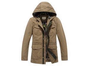 """Shefetch Men's Slim Lightweight Packable Autumn Lycra Mens Outerwear  Khaki  2XL /US M chest:39.4"""""""