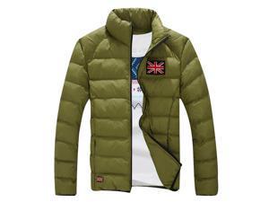 Shefetch Men's Fashion Autumn Trendy Lycra 7 Sizes 4 Colors Mens Outerwear Green 3XL