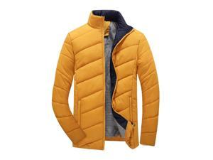 Shefetch Men's Autumn 2015 Slim Fitted Casual Fashion Lycra Mens Outerwear Yellow 2XL