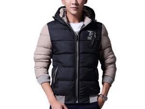 Shefetch Men's Fit Autumn Trendy 5 Colors 5 Sizes Lycra Mens Outerwear Black XL
