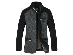"Shefetch Men's Vintage Trendy Autumn Fashion Chic Lycra Mens Outerwear Black Grey Asian 3XL/US M-L(Chest:41.7"")"