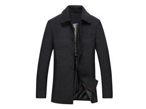 Shefetch Men's Trendy Designed Autumn Lycra Mens Outerwear 4 Sizes Black XL