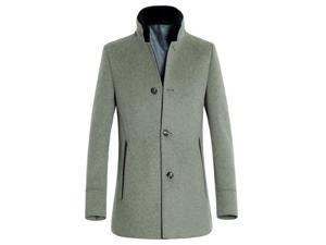 Shefetch Men's Slim Fit Autumn Stylish Lycra 1 Colors Mens Outerwear Light Gray XL