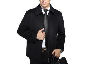 Shefetch Men's Slim Fit Autumn Stylish Lycra 2 Colors Mens Outerwear Black L
