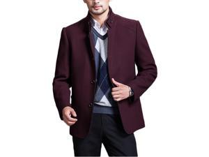 Shefetch Men's Causal Trendy Autumn Lycra Mens Outerwear 6 Sizes 3 Colors Wine Red 4XL