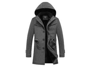 Shefetch Men's Casual 2015 Brand New Autumn 2 Colors 7 Sizes Mens Outerwear Gray L