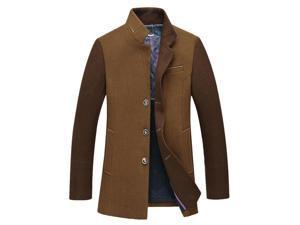 Shefetch Men's Casual Design Autumn Fashion Retro Lycra Mens Outerwear Brown 2XL