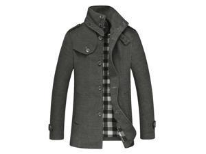 Shefetch Men's Retro Casual Autumn Fashion Stylish Lycra Mens Outerwear Gray L