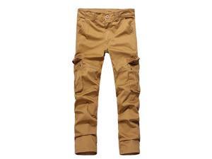 Shefetch Men's Fit Autumn Casual 3 Colors Ankle Cotton Mens Pants Shorts Yellow 34