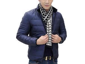 Shefetch Men's Casual Autumn Warm Styish Lycra Mens Outerwear 6 Sizes 3 Colors Navy Blue 2XL