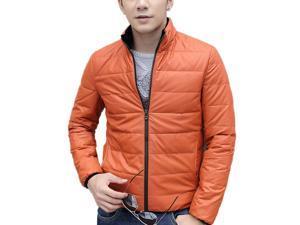 Shefetch Men's Casual Autumn Warm Styish Lycra Mens Outerwear 6 Sizes 3 Colors Orange M