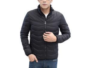 Shefetch Men's Vintage Stylish Autumn Fashion Chic Lycra Mens Outerwear Black M