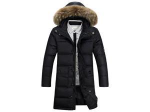 Shefetch Men's Autumn Fashion Warm Outdoor Lycra Mens Outerwear Black 2XL
