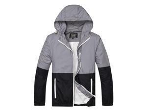 Shefetch Men's Fit Autumn Stylish 6 Colors 5 Sizes Lycra Mens Outerwear Grey XL