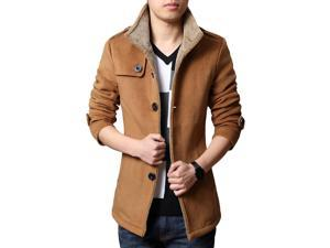 Shefetch Men's Retro Casual Autumn 3 Colors Lycra Mens Outerwear Khaki L