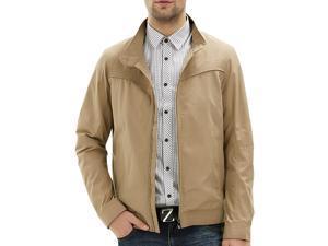 """Shefetch Men's Slim Fit Fashion 2015 Autumn Soft Lycra Mens Outerwear Dark Beige 48 /US S chest:36.2"""""""