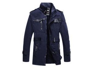 Shefetch Men's Slim Fit Casual Autumn Delicate 4 Sizes 3 Colors Mens Outerwear Blue 2XL