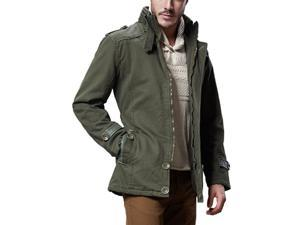 Shefetch Men's Fashion Simple Casual Lycra Mens Outerwear 4 Colors Army Green XL