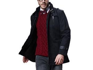 Shefetch Men's Fashion Simple Casual Lycra Mens Outerwear 4 Colors Black L