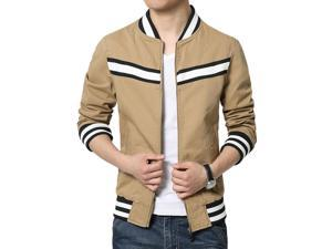 Shefetch Men's Fitted Autumn Latest 4 Colors 4 Sizes Lycra Mens Outerwear Khaki M