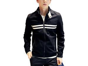 Shefetch Men's Stylish Trendy Autumn Lycra Mens Outerwear 3 Colors Black 2XL