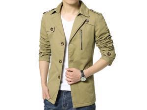 Shefetch Men's Fit Autumn Fashion 3 Colors 5 Sizes Lycra Mens Outerwear Khaki XL