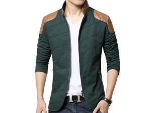 Shefetch Men's Chic Retro 2015 Autumn Lycra Mens Outerwear 3 Colors Green L
