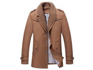 Shefetch Men's Autumn Casual 4 Colors Lycra Mens Outerwear 5 Sizes Khaki L