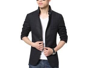 Shefetch Men's Fit Autumn Casual 1 Colors 4 Sizes Lycra Mens Outerwear Black XL
