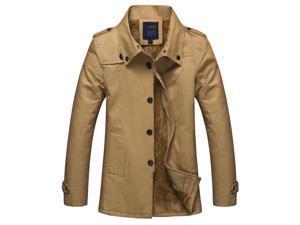 "Shefetch Men's Fashion 2015 Latest Trends Lycra Mens Outerwear 5 Sizes Dark Khaki Asian 2XL /US S(Chest:34.7"")"