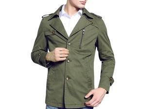 Shefetch Men's Chic Retro 2015 Autumn Lycra Mens Outerwear 3 Colors Army L/US S chest:34.6""